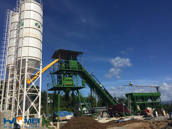haomei 60m3/h stationary concrete batching plant install in Manila, Philippines.